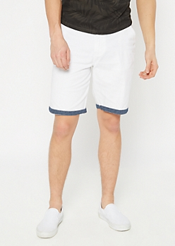 White Print Cuff Chino Shorts