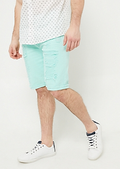 Mint Frayed Cuff Jean Shorts