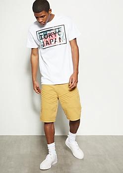 Mustard Gel Moto Twill Shorts