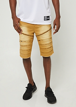 Camel Zipper Accent Denim Shorts