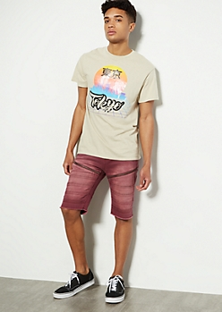 Burgundy Moto Zip Cargo Shorts