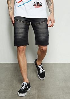 Flex Black Moto Zippered Twill Shorts