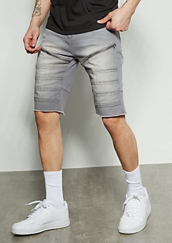 Flex Gray Moto Zippered Twill Shorts