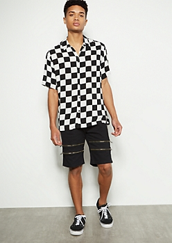 Black Double Zipper Cargo Shorts