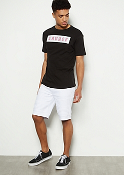 White Raised Moto Cargo Shorts