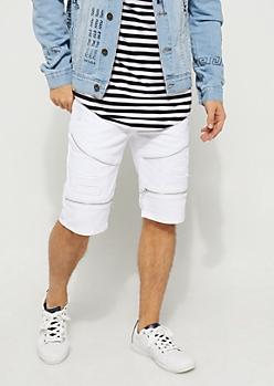 Flex White Zipped Moto Jean Shorts