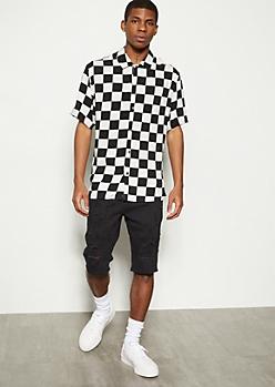 Black Distressed Moto Twill Shorts
