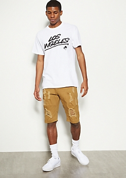 Camel Distressed Moto Twill Shorts