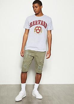 Olive Distressed Moto Twill Shorts