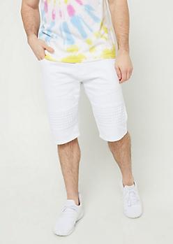 White Studded Moto Shorts