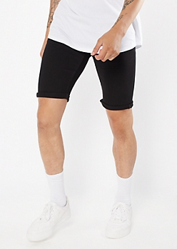 Black Cuffed Flat Front Shorts