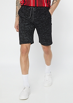Black Space Dye Drawstring Shorts