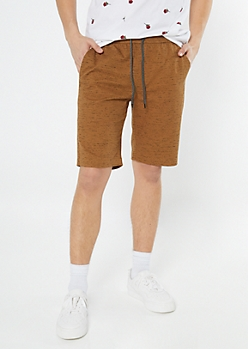 Camel Space Dye Drawstring Shorts