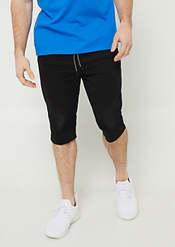Black Moto Panel Twill Shorts
