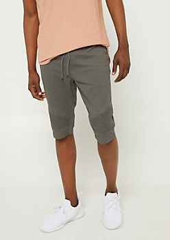 Charcoal Gray Moto Panel Twill Shorts