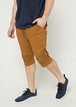 Camel Moto Panel Twill Shorts