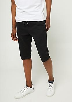 Black Twill Jogger Shorts