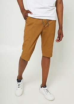 Camel Twill Jogger Shorts