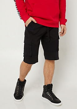 Black Cargo Pocket Twill Shorts