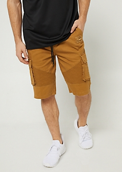 Camel Cargo Pocket Twill Shorts