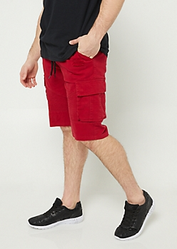 Red Cargo Pocket Twill Shorts