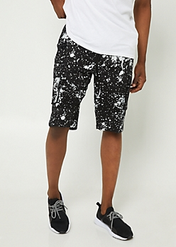 Splatter Paint Print Cargo Pocket Twill Shorts