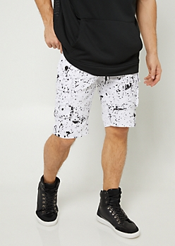 White Splatter Paint Print Cargo Pocket Twill Shorts