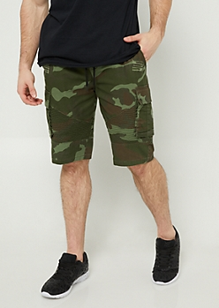 Camo Cargo Pocket Twill Shorts