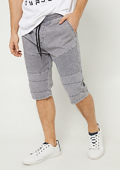 Washed Grey Moto Jogger Shorts