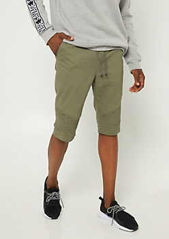 Olive Moto Panel Twill Shorts