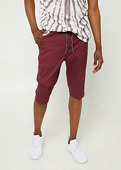Burgundy Moto Panel Twill Shorts