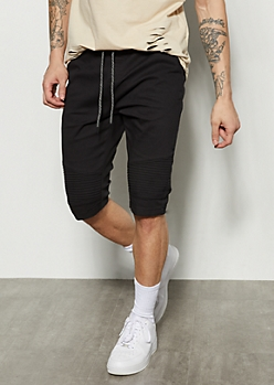 Black Moto Flat Front Twill Shorts