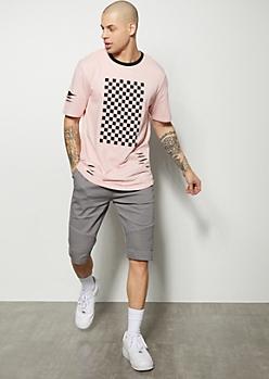 Gray Moto Flat Front Twill Shorts