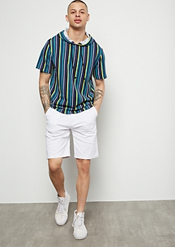 Flex White Flat Front Twill Shorts