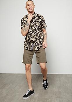 Flex Olive Flat Front Twill Shorts