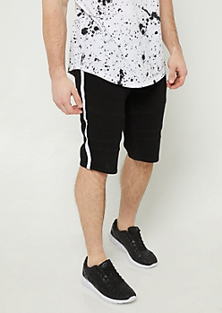 Black Varsity Stripe Pattern Moto Shorts