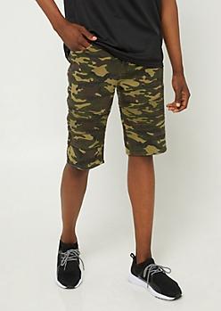 Camo Moto Jean Shorts