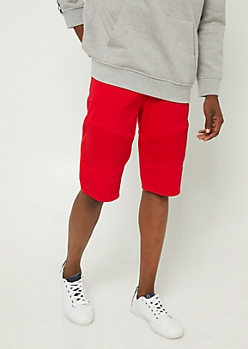Red Moto Jean Shorts