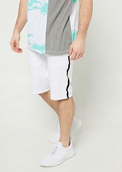 White Varsity Stripe Pattern Moto Shorts