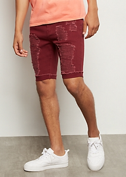 Flex Burgundy Ripped Rolled Jean Shorts