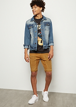 Flex Camel Ripped Rolled Jean Shorts