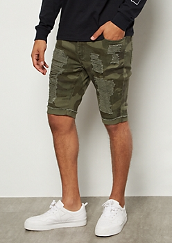 Flex Camo Print Ripped Rolled Jean Shorts