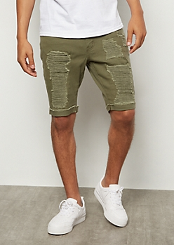 Flex Olive Ripped Rolled Jean Shorts