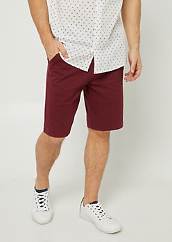 Burgundy Essential Twill Shorts