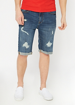 Ultra Flex Dark Wash Rolled Jean Shorts
