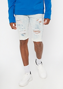 Supreme Flex Light Bleached Distressed Jean Shorts
