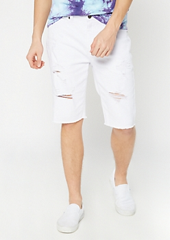 Supreme Flex White Distressed Jean Shorts