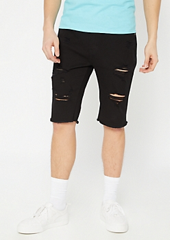 Supreme Flex Black Distressed Jean Shorts