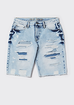 Light Acid Wash Ripped Repaired Jean Shorts