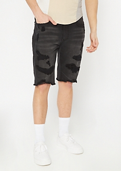 Supreme Flex Black Sandblast Distressed Jean Shorts